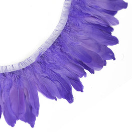 "Feather Trim - Goose Feather Satinette Fringe Trims - Silk Purple - 5""-7"" (1 yard)"