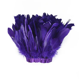 "Feather Trim - Goose Feather Satinette Fringe Trims - Purple - 5""-7"" (1 yard)"