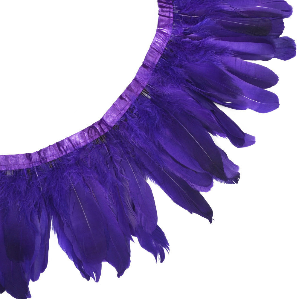 Feather Trim - Goose Feather Satinette Fringe Trims - Purple - 5
