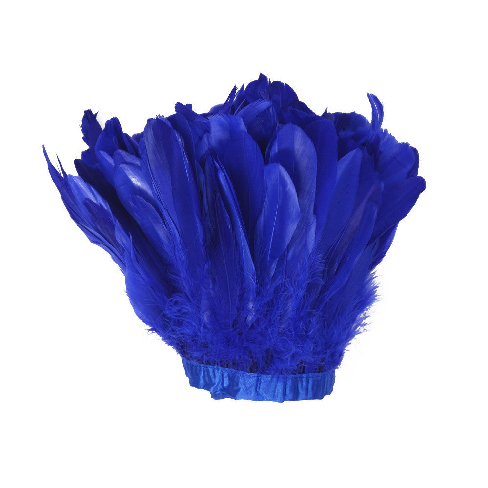 Feather Trim - Goose Feather Satinette Fringe Trims - Royal Blue - 5