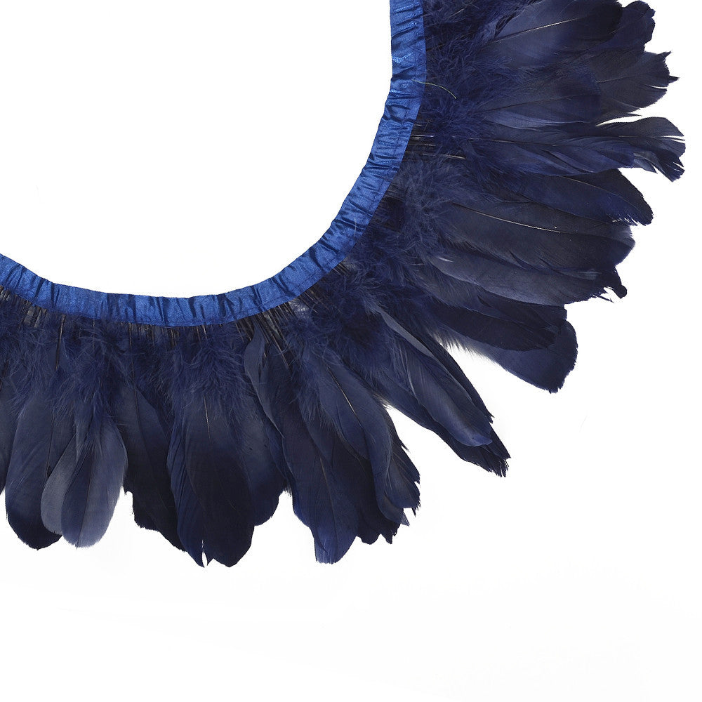 Feather Trim - Goose Feather Satinette Fringe Trims - Navy Blue - 5