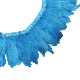 "Feather Trim - Goose Feather Satinette Fringe Trims - Turquoise - 5""-7"" (1 yard)"