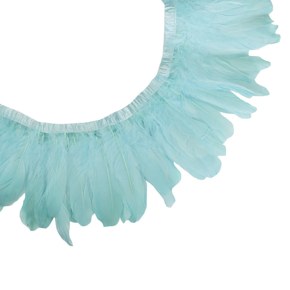 Feather Trim - Goose Feather Satinette Fringe Trims - Sky Blue - 5