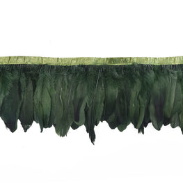 "Feather Trim - Goose Feather Satinette Fringe Trims - Forest Green - 5""-7"" (1 yard)"
