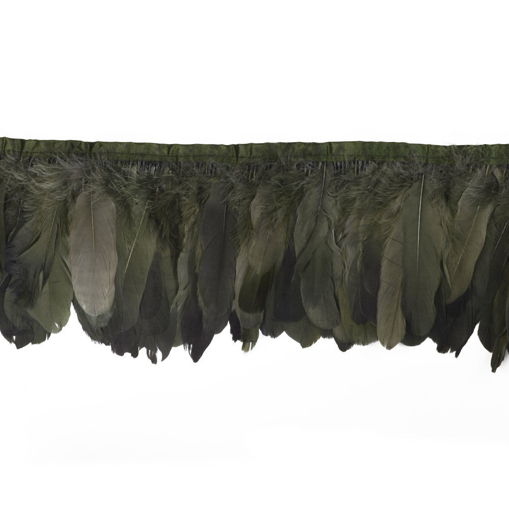 Feather Trim - Goose Feather Satinette Fringe Trims - Moss Green - 5