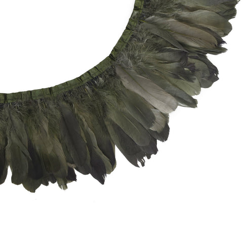 "Feather Trim - Goose Feather Satinette Fringe Trims - Moss Green - 5""-7"" (1 yard)"