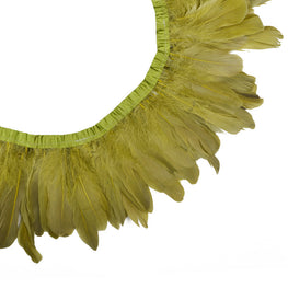 "Feather Trim - Goose Feather Satinette Fringe Trims - Pear Green - 5""-7"" (1 yard)"