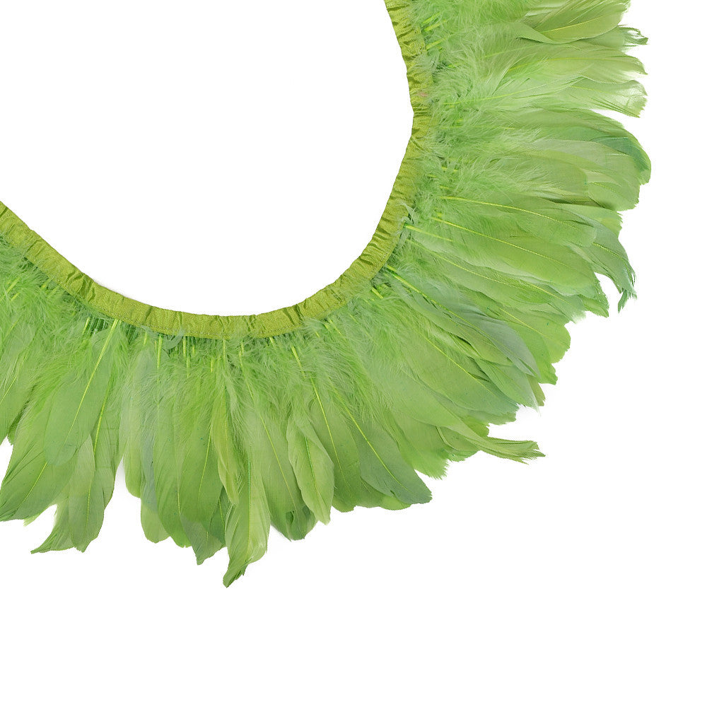 Feather Trim - Goose Feather Satinette Fringe Trims - Apple Green - 5
