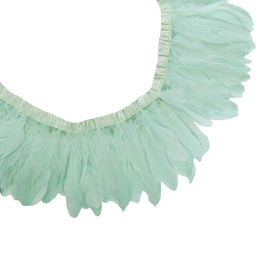 "Feather Trim - Goose Feather Satinette Fringe Trims - Aqua Blue - 5""-7"" (1 yard)"