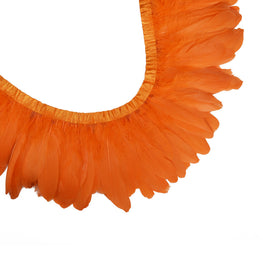 "Feather Trim - Goose Feather Satinette Fringe Trims - Orange - 5""-7"" (1 yard)"