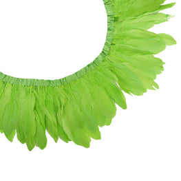 "Feather Trim - Goose Feather Satinette Fringe Trims - Lime Green - 5""-7"" (1 yard)"