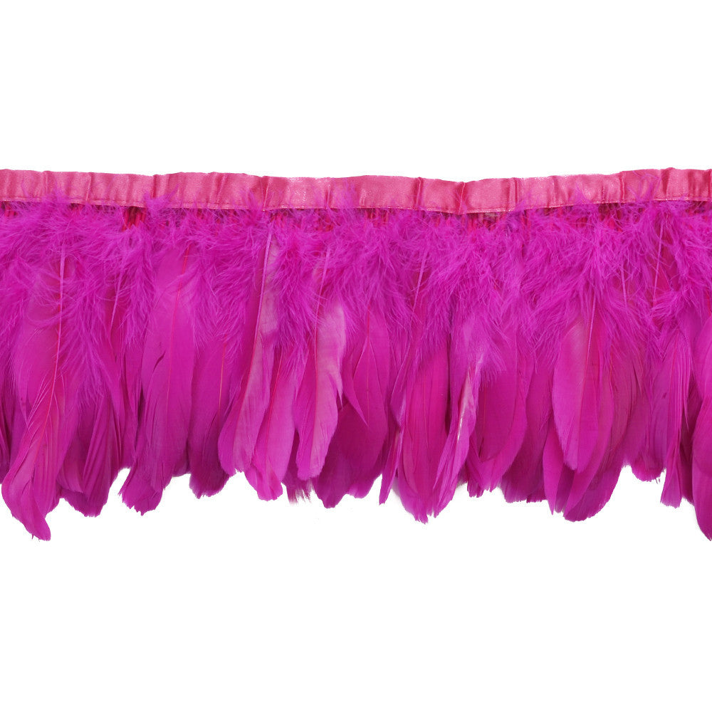 Feather Trim - Goose Feather Satinette Fringe Trims - Hot Pink - 5