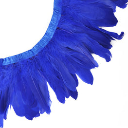 "Feather Trim - Goose Feather Satinette Fringe Trims - Blue - 5""-7"" (1 yard)"