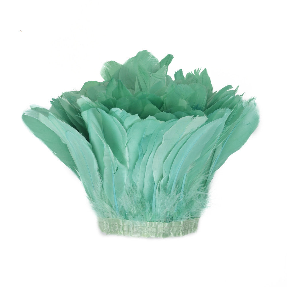 Feather Trim - Goose Feather Satinette Fringe Trims - Mint - 5