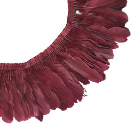 "Feather Trim - Goose Feather Satinette Fringe Trims - Wine Red - 5""-7"" (1 yard)"