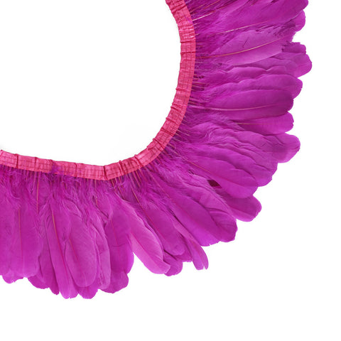 "Feather Trim - Goose Feather Satinette Fringe Trims - Magenta - 5""-7"" (1 yard)"