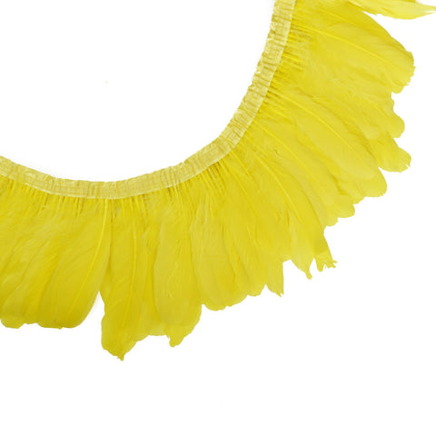 "Feather Trim - Goose Feather Satinette Fringe Trims - Canary Yellow - 5""-7"" (1 yard)"