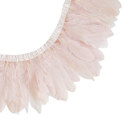 "Feather Trim - Goose Feather Satinette Fringe Trims - Powder Pink - 5""-7"" (1 yard)"