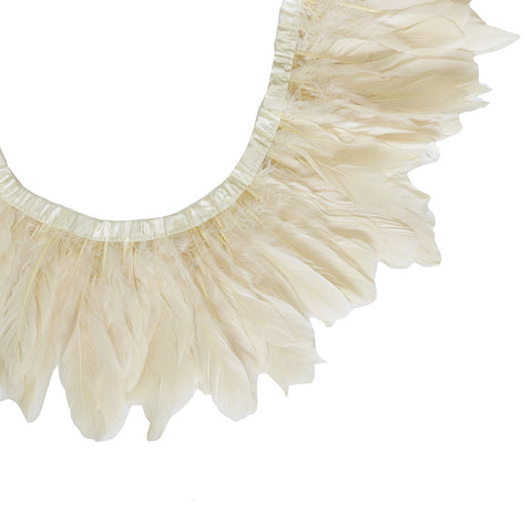 "Feather Trim - Goose Feather Satinette Fringe Trims - Light Champagne - 5""-7"" (1 yard)"