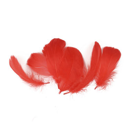 "Goose Feathers - Loose Satinette Plumes Feathers - Red - 3""-5"" (0.3 oz)"