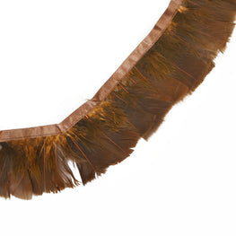 "Feather Trim - Turkey Marabou Feather Fringe Trims - Rustik Brown - 4""-4.5"" (1 yard)"