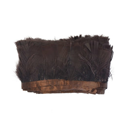 "Feather Trim - Turkey Marabou Feather Fringe Trims - Dark Brown - 4""-4.5"" (1 yard)"