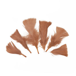 "Turkey Feathers - Handpicked Loose Turkey Marabou Feathers - Brown - 2""-4"" (12pcs)"