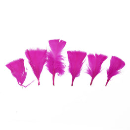 "Turkey Feathers - Handpicked Loose Turkey Marabou Feathers - Hot Pink - 2""-4"" (12pcs)"
