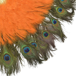 "Feather Fan - Double-sided Peacock & Marabou Feather Fan - Orange (28""x16"")"