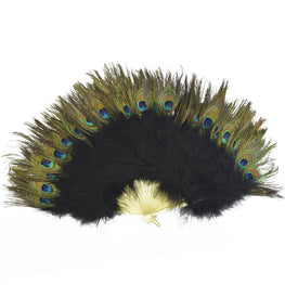 "Feather Fan - Double-sided Peacock & Marabou Feather Fan - Black (28""x16"")"