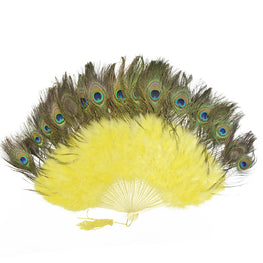 "Feather Fan - Double-sided Peacock & Marabou Feather Fan - Yellow (28""x16"")"