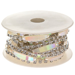 "0.5"" Narrow Resin Rhinestone Trim - Silver/Crystal AB"