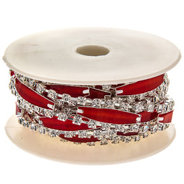 "0.5"" Narrow Resin Rhinestone Trim - Silver/Red"