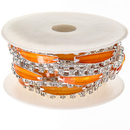 "0.5"" Narrow Resin Rhinestone Trim - Silver/Orange"