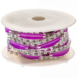 "0.5"" Narrow Resin Rhinestone Trim - Silver/Purple"