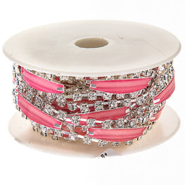 "0.5"" Narrow Resin Rhinestone Trim - Silver/Pink"