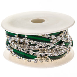 "0.5"" Narrow Resin Rhinestone Trim - Silver/Green"