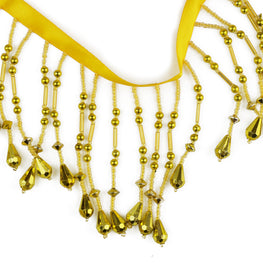 "3"" Teardrop Beaded Fringe - Gold or Silver"