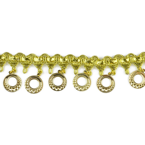 "1.5"" Circle Disc Beaded Fringe in Gold or Silver"