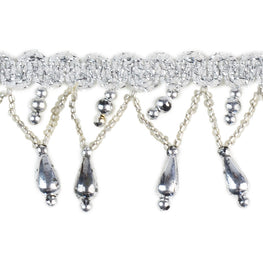 "1.5"" Teardrop Beaded Fringe - Silver"