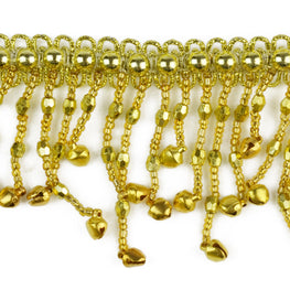 "1.5"" Bells Beaded Fringe Trim - Gold"