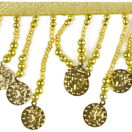 "3"" Coins Beaded Fringe Trim - Gold"