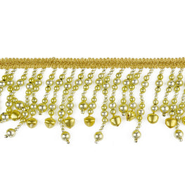 "3"" Large Jingle Bells Beaded Fringe Trim - Gold or Silver"
