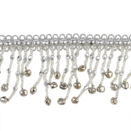 "1.5"" Bells Beaded Fringe Trim - Silver"