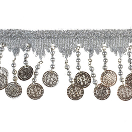 "2.5"" Coins Beaded Fringe Trim - Silver"