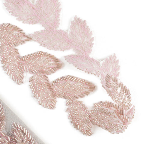 Beaded Leaves Trim - Dusty Pink