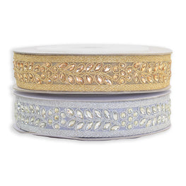 "1"" Metallic Embroidered Acrylic Stones Beaded Trim - Gold or Silver"
