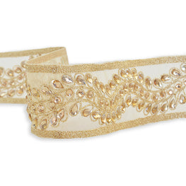 "1.75"" Metallic Embroidered Acrylic Stones Beaded Trim - Gold or Silver"