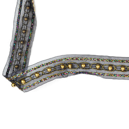 "1.5"" Metallic Beaded Organza Trim in Black"