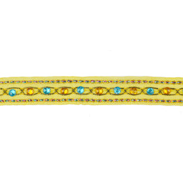 "1.5"" Beaded Organza Trim - Yellow"